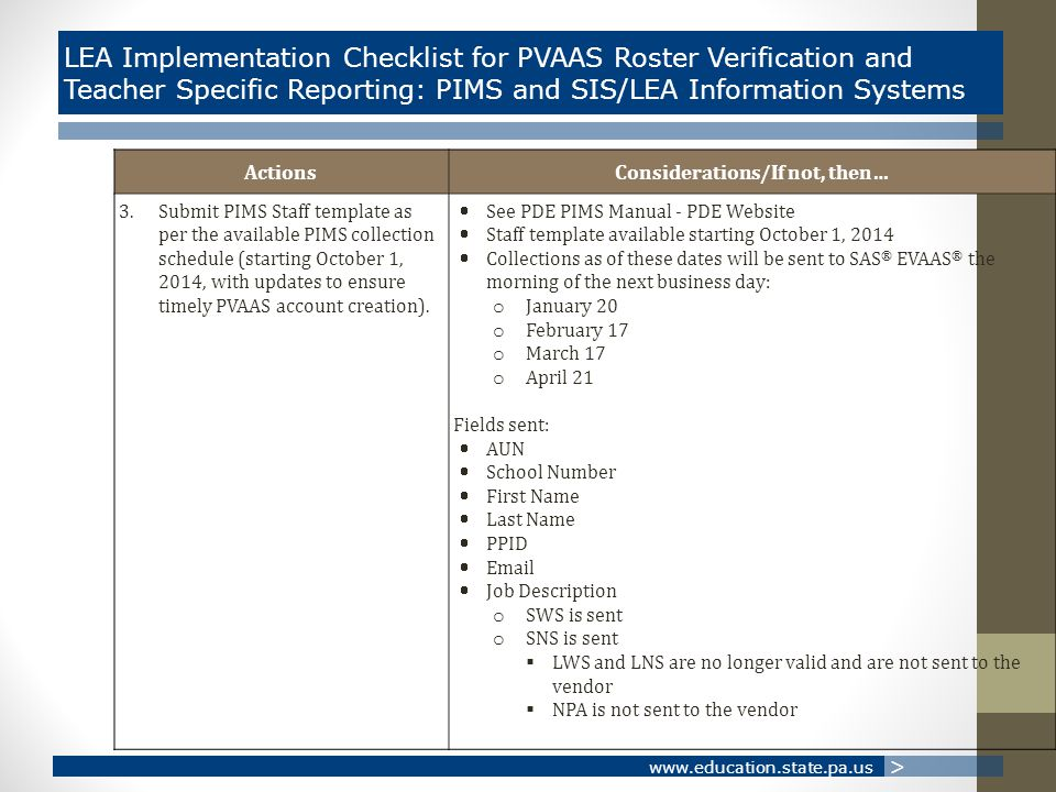 www.education.state.pa.us > LEA Implementation Checklist for PVAAS Roster Verification and Teacher Specific Reporting: PIMS and SIS/LEA Information Systems ActionsConsiderations/If not, then… 3.Submit PIMS Staff template as per the available PIMS collection schedule (starting October 1, 2014, with updates to ensure timely PVAAS account creation).
