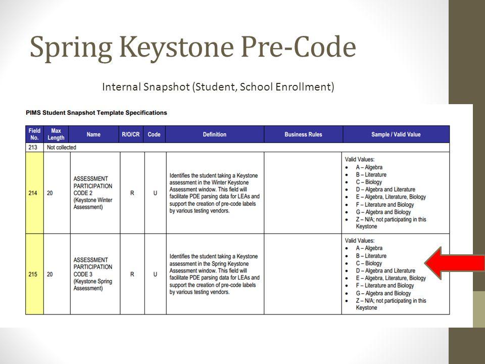 Spring Keystone Pre-Code Internal Snapshot (Student, School Enrollment)
