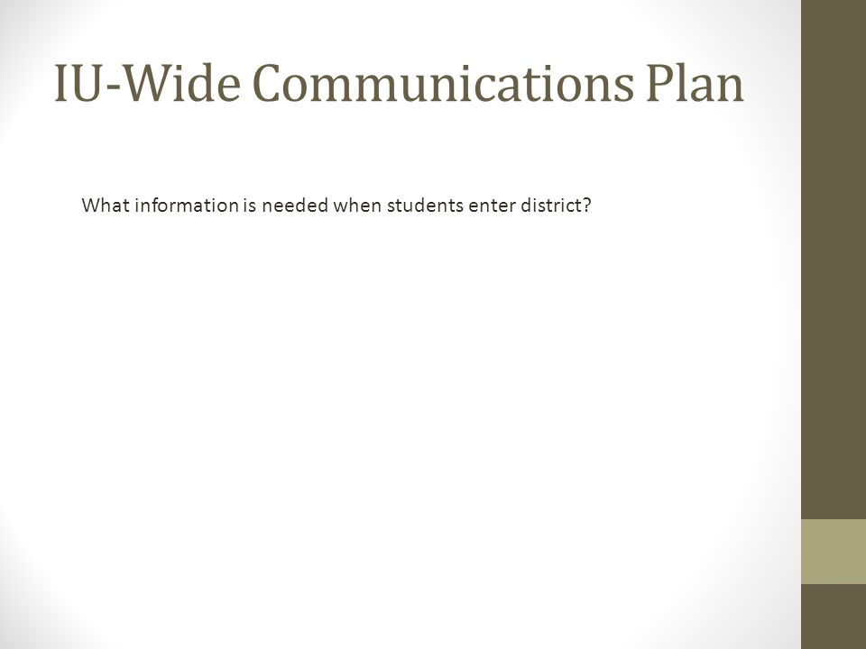 IU-Wide Communications Plan What information is needed when students enter district