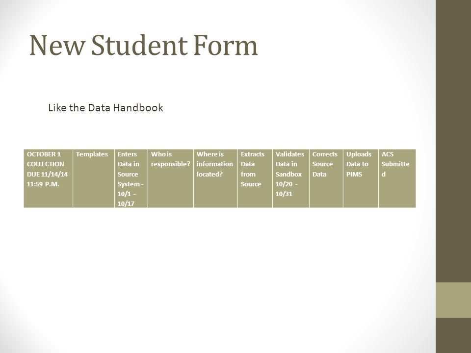 New Student Form Like the Data Handbook OCTOBER 1 COLLECTION DUE 11/14/14 11:59 P.M.