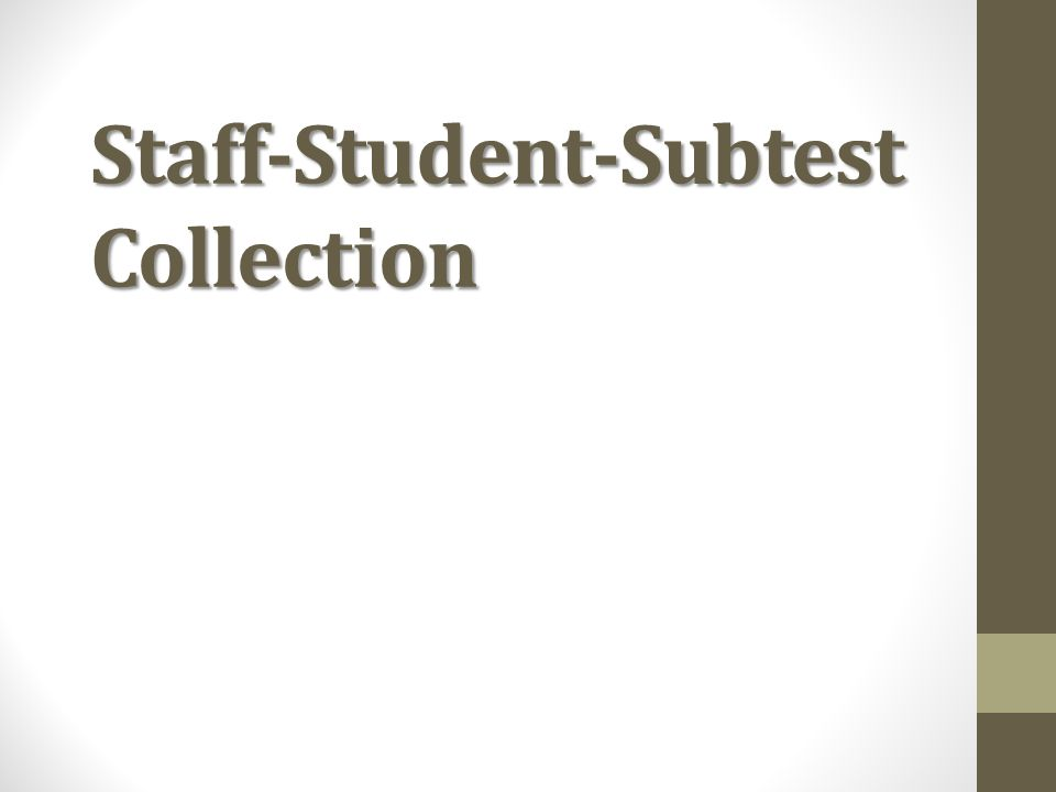 Staff-Student-Subtest Collection