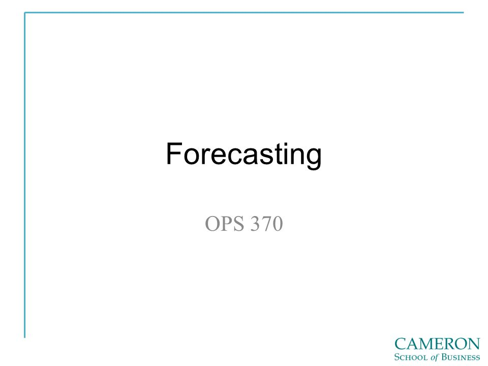 Forecasting OPS 370