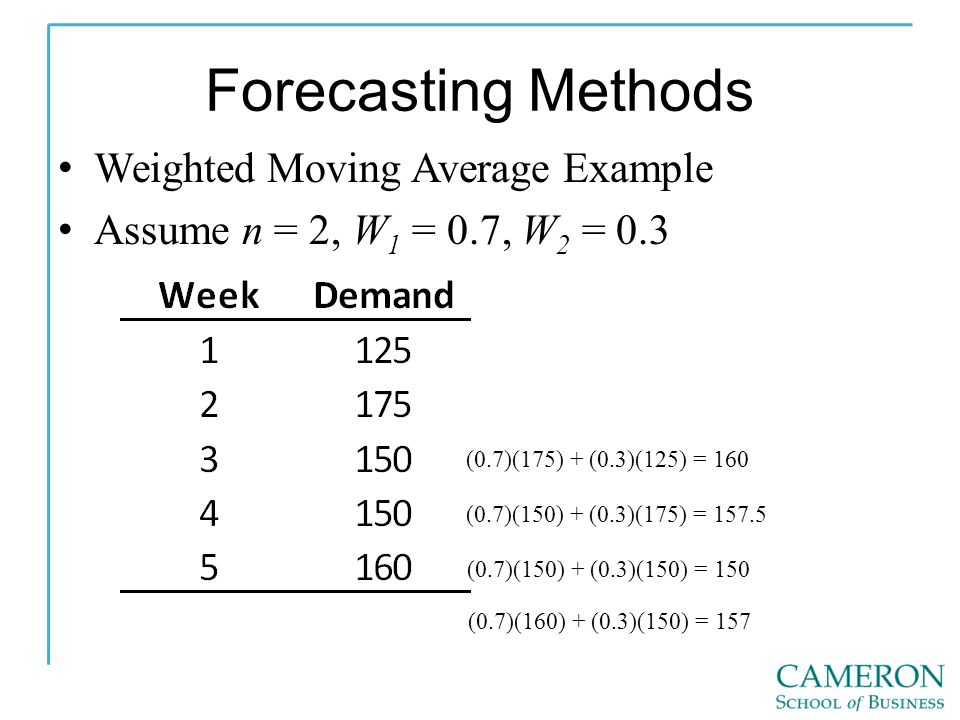 Forecasting Methods Weighted Moving Average Example Assume n = 2, W 1 = 0.7, W 2 = 0.3 (0.7)(175) + (0.3)(125) = 160 (0.7)(150) + (0.3)(175) = 157.5 (