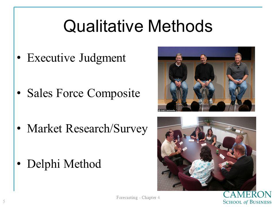 Qualitative Methods Executive Judgment Sales Force Composite Market Research/Survey Delphi Method Forecasting - Chapter 4 5