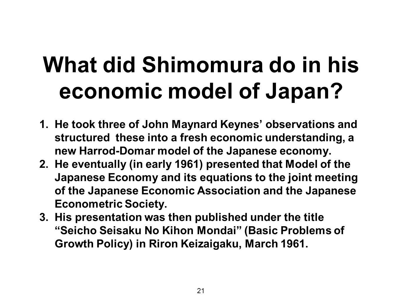 What did Shimomura do in his economic model of Japan.