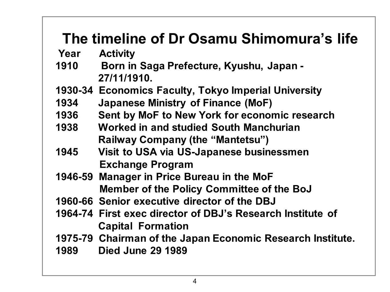 The timeline of Dr Osamu Shimomura's life Year Activity 1910 Born in Saga Prefecture, Kyushu, Japan - 27/11/1910.