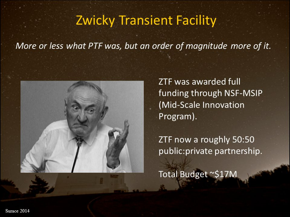 ZTF was awarded full funding through NSF-MSIP (Mid-Scale Innovation Program). ZTF now a roughly 50:50 public:private partnership. Total Budget ~$17M Z