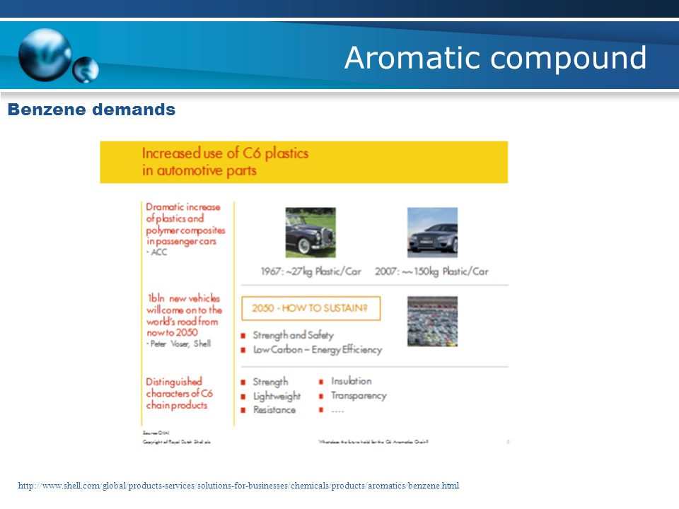 Aromatic compound Benzene demands http://www.shell.com/global/products-services/solutions-for-businesses/chemicals/products/aromatics/benzene.html