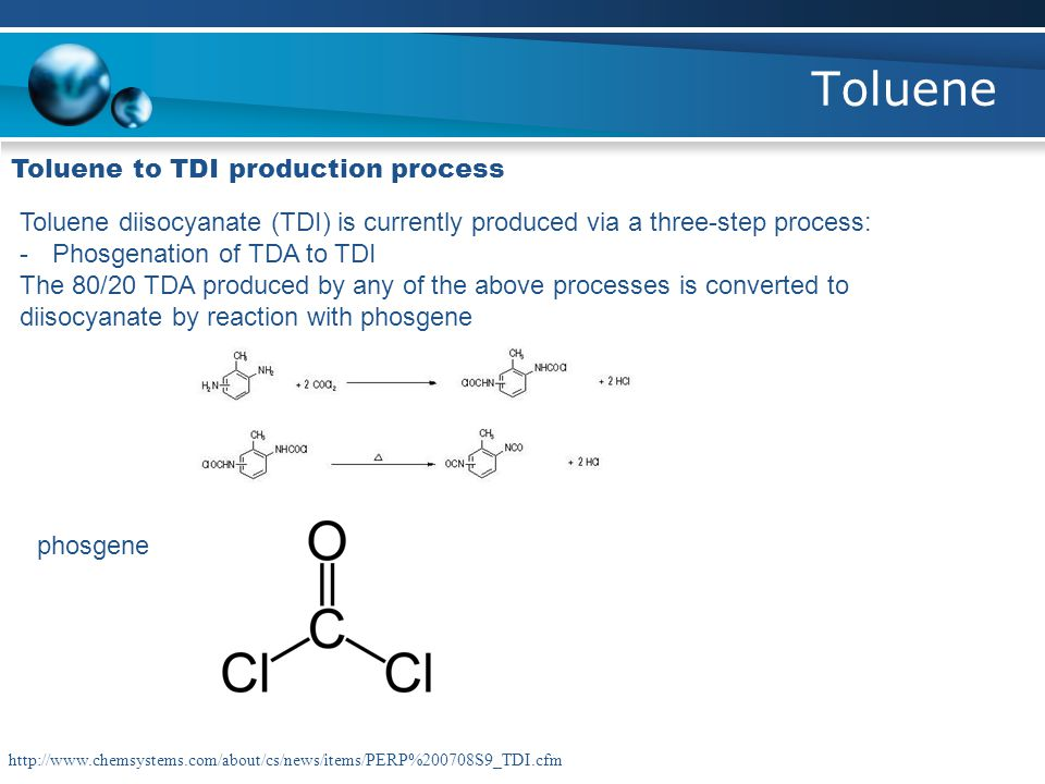 Toluene Toluene to TDI production process Toluene diisocyanate (TDI) is currently produced via a three-step process: -Phosgenation of TDA to TDI The 8
