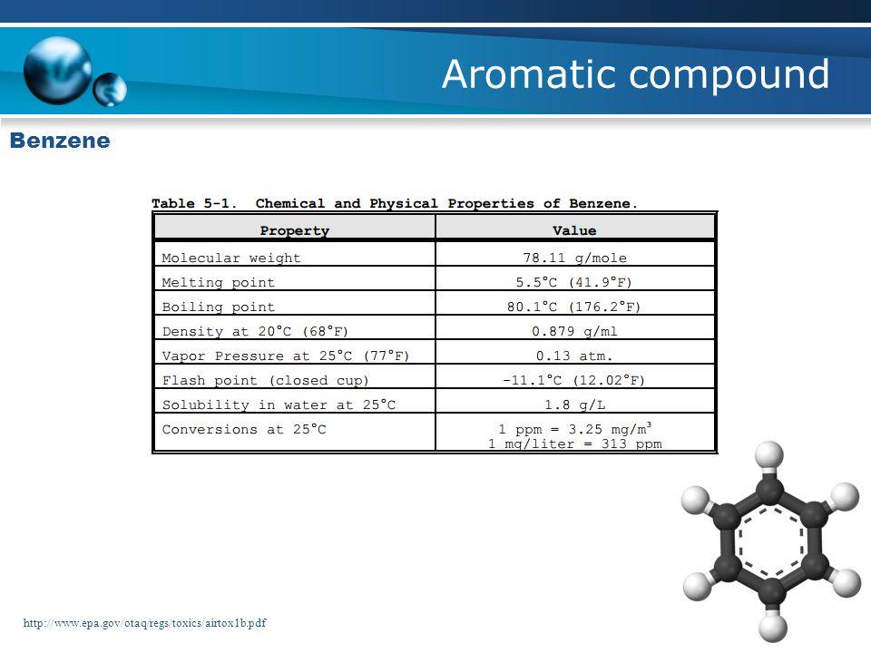 Aromatic compound Benzene http://www.epa.gov/otaq/regs/toxics/airtox1b.pdf
