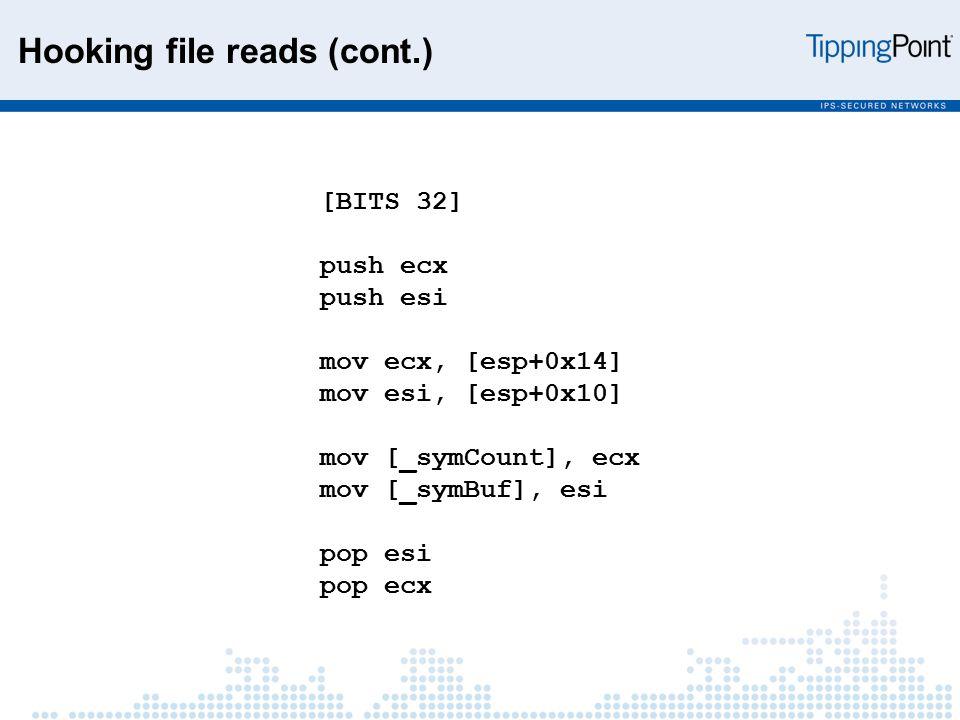 [BITS 32] push ecx push esi mov ecx, [esp+0x14] mov esi, [esp+0x10] mov [_symCount], ecx mov [_symBuf], esi pop esi pop ecx