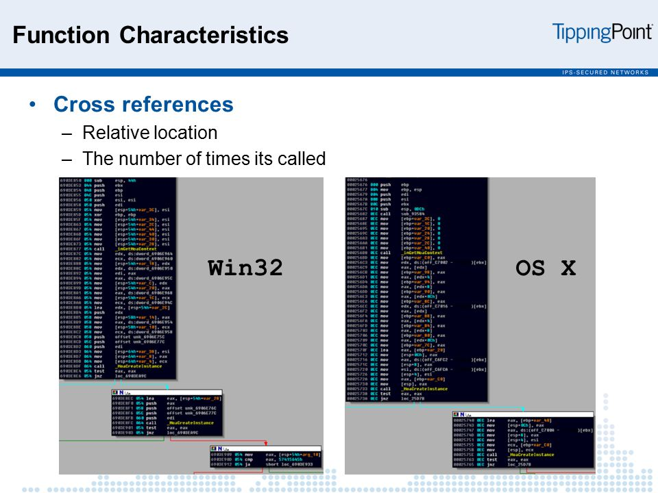 Function Characteristics Cross references –Relative location –The number of times its called Win32 OS X