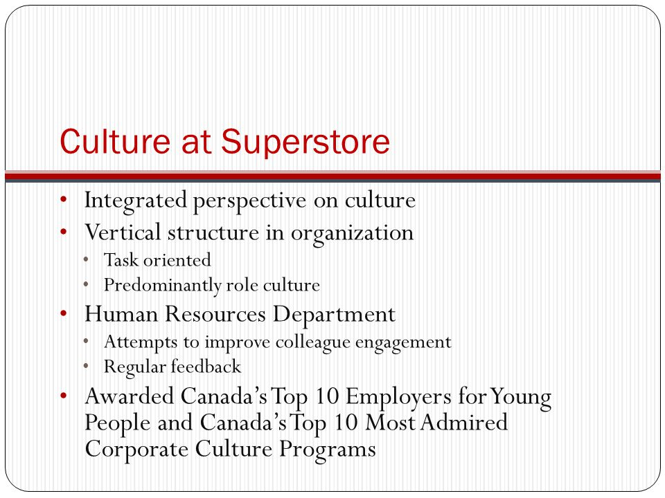 Culture at Superstore Integrated perspective on culture Vertical structure in organization Task oriented Predominantly role culture Human Resources Department Attempts to improve colleague engagement Regular feedback Awarded Canada's Top 10 Employers for Young People and Canada's Top 10 Most Admired Corporate Culture Programs