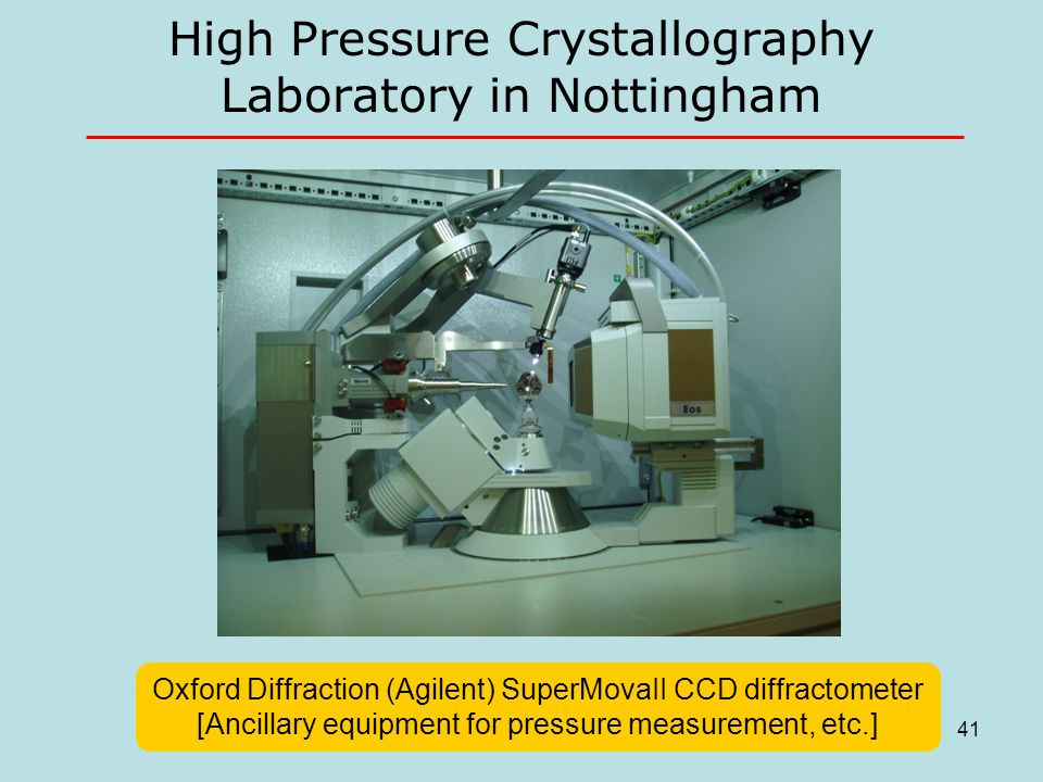 High Pressure Crystallography Laboratory in Nottingham Oxford Diffraction (Agilent) SuperMovaII CCD diffractometer [Ancillary equipment for pressure m