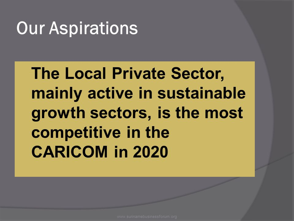 Our Aspirations The Local Private Sector, mainly active in sustainable growth sectors, is the most competitive in the CARICOM in 2020 www.surinamebusinessforum.org