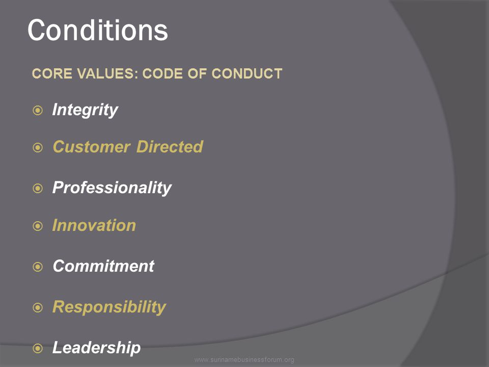 Conditions CORE VALUES: CODE OF CONDUCT  Integrity  Customer Directed  Professionality  Innovation  Commitment  Responsibility  Leadership www.surinamebusinessforum.org