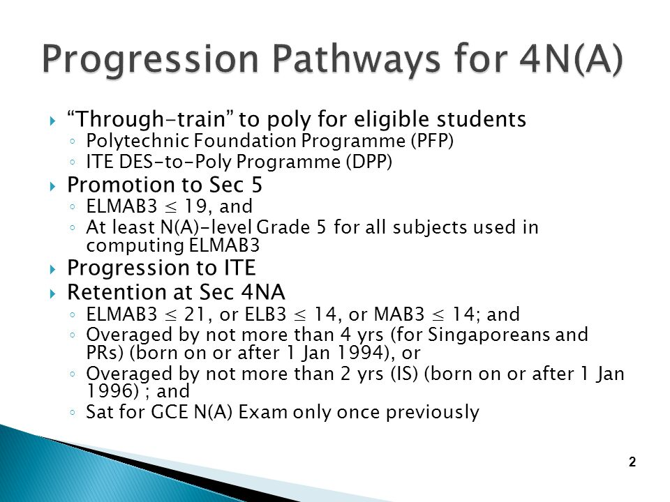 """ """"Through-train"""" to poly for eligible students ◦ Polytechnic Foundation Programme (PFP) ◦ ITE DES-to-Poly Programme (DPP)  Promotion to Sec 5 ◦ ELMA"""