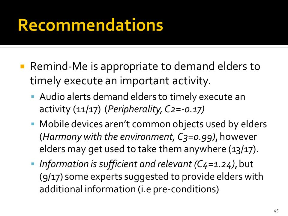  CARE-Me should reinforce the elders' behavior towards the activity.  It is important to represent more detailed and additional information (Suffici