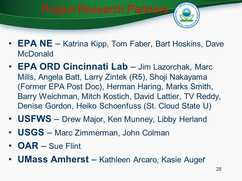 Project Research Partners EPA NE – Katrina Kipp, Tom Faber, Bart Hoskins, Dave McDonald EPA ORD Cincinnati Lab – Jim Lazorchak, Marc Mills, Angela Bat