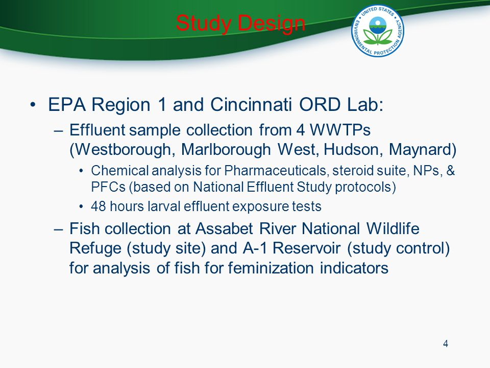 Partners Activities USFWS: national study of bass at Refuges USGS: analysis of river water for EDCs OAR and UMA: larval effluent exposure tests and public awareness effort 5