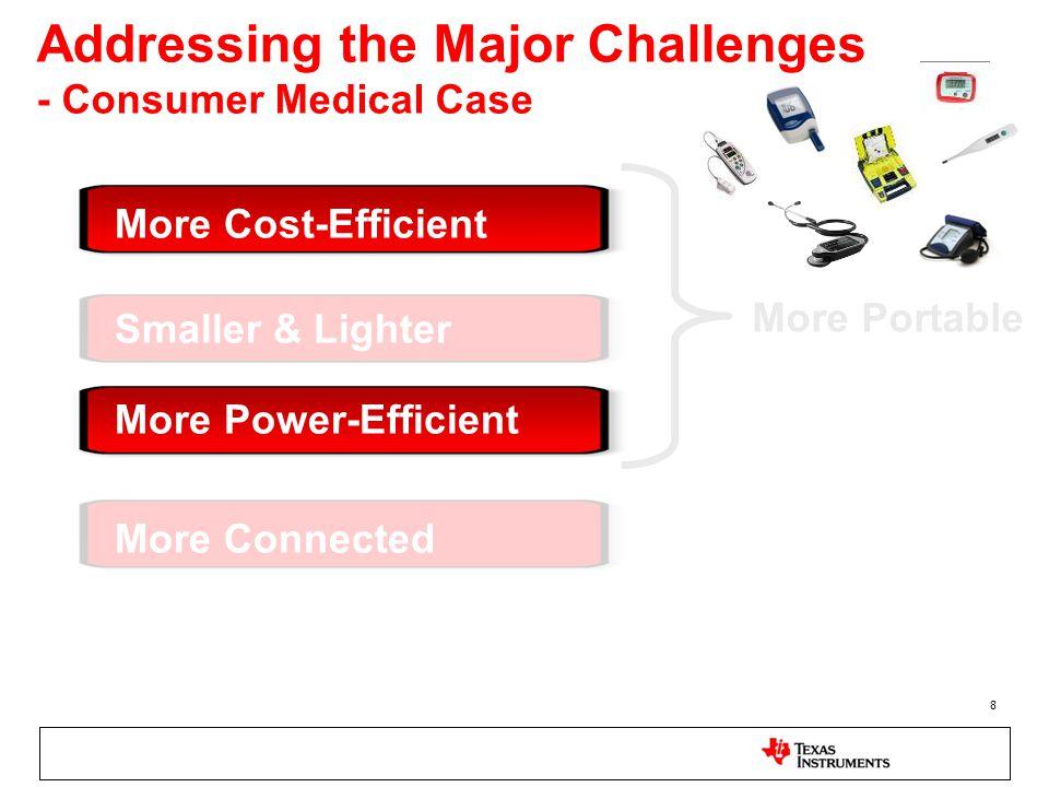 8 Addressing the Major Challenges - Consumer Medical Case Smaller & Lighter More Power-Efficient More Cost-Efficient More Connected More Portable