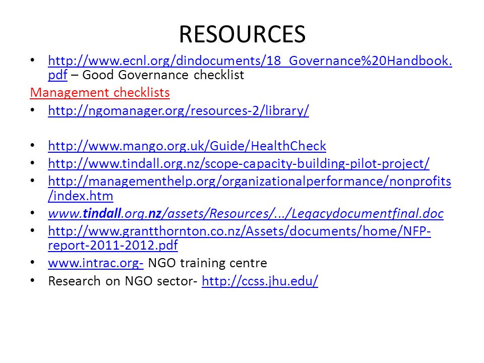 RESOURCES http://www.ecnl.org/dindocuments/18_Governance%20Handbook.