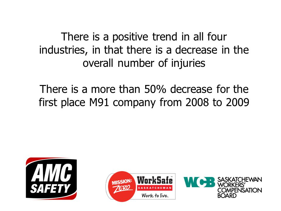 There is a positive trend in all four industries, in that there is a decrease in the overall number of injuries There is a more than 50% decrease for the first place M91 company from 2008 to 2009