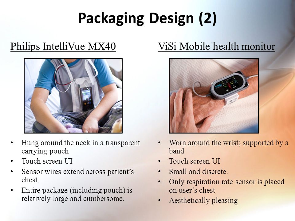 Packaging Design (2) Philips IntelliVue MX40 Hung around the neck in a transparent carrying pouch Touch screen UI Sensor wires extend across patient's chest Entire package (including pouch) is relatively large and cumbersome.