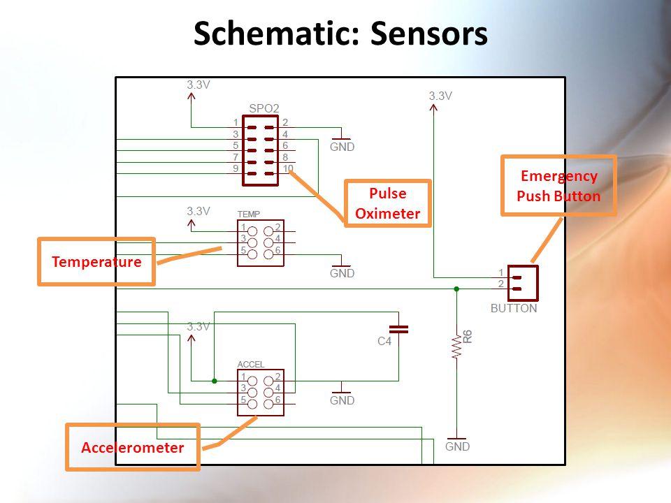 Schematic: Sensors Pulse Oximeter Temperature Accelerometer Emergency Push Button