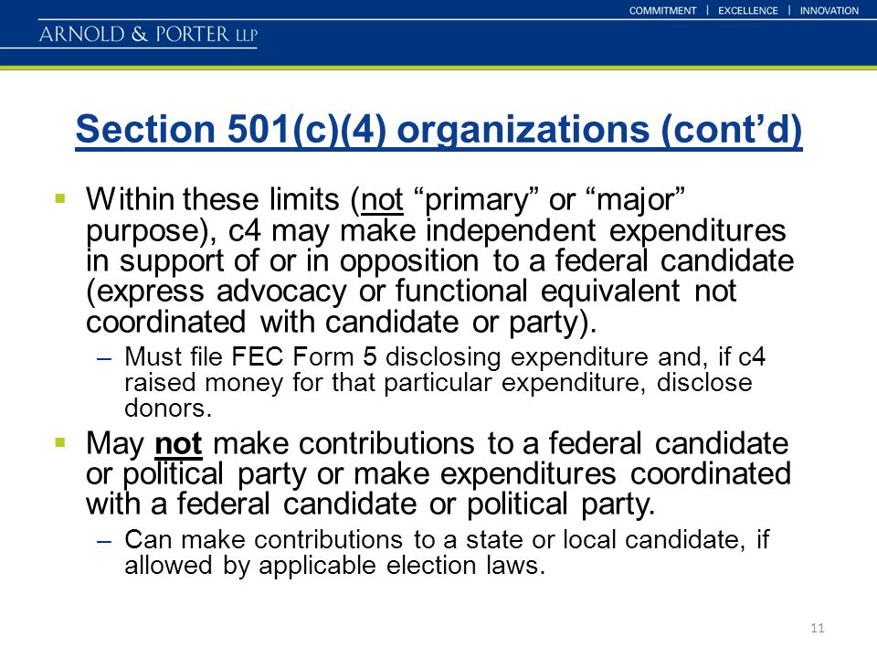 "Section 501(c)(4) organizations (cont'd) 11  Within these limits (not ""primary"" or ""major"" purpose), c4 may make independent expenditures in support"