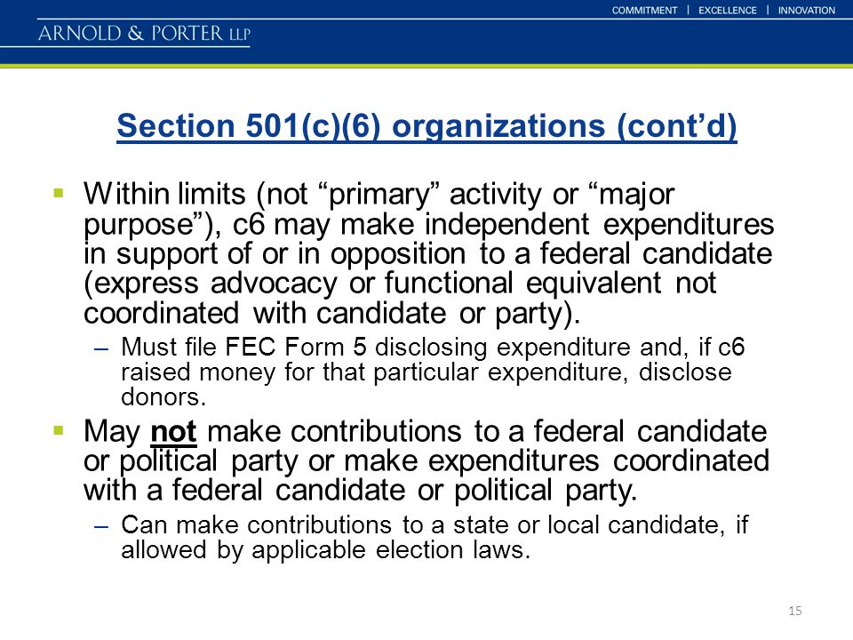"Section 501(c)(6) organizations (cont'd) 15  Within limits (not ""primary"" activity or ""major purpose""), c6 may make independent expenditures in suppo"