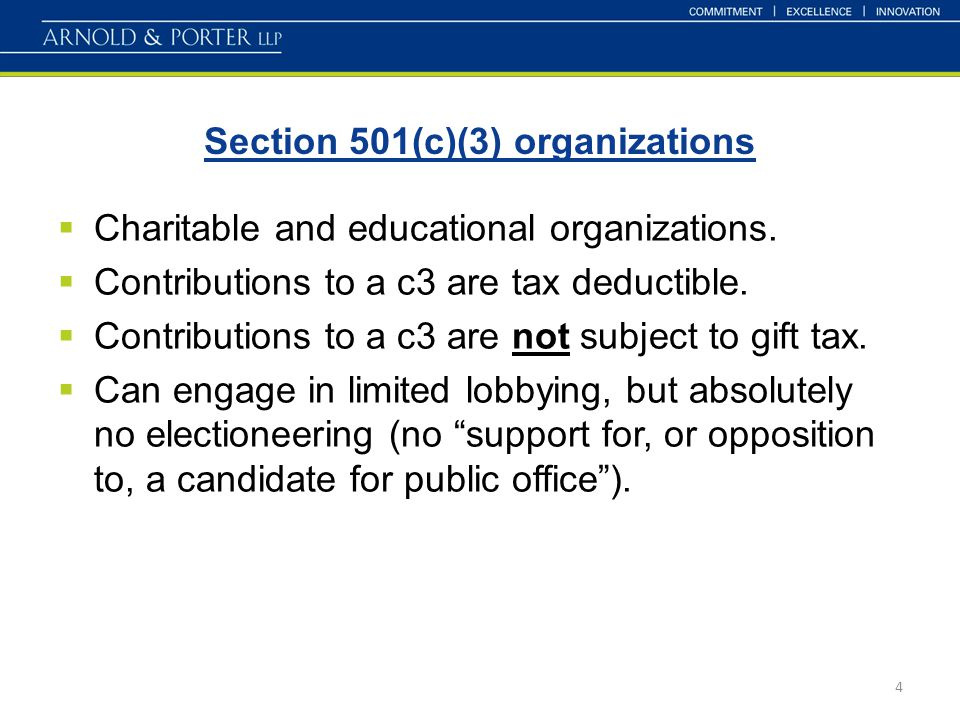Section 501(c)(3) organizations 4  Charitable and educational organizations.  Contributions to a c3 are tax deductible.  Contributions to a c3 are