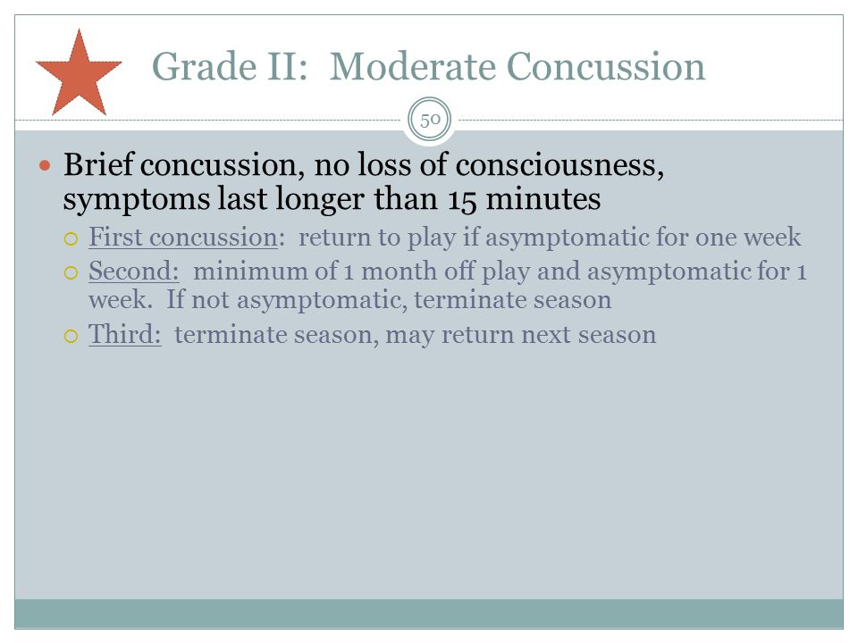 Grade II: Moderate Concussion Brief concussion, no loss of consciousness, symptoms last longer than 15 minutes  First concussion: return to play if asymptomatic for one week  Second: minimum of 1 month off play and asymptomatic for 1 week.