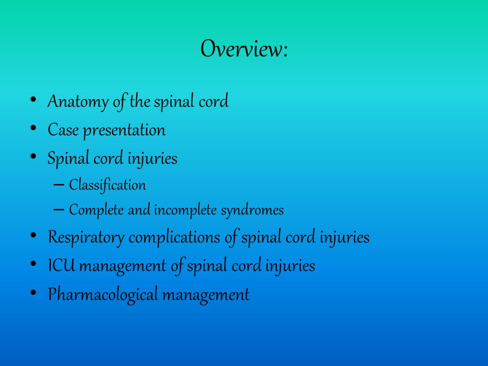 Overview: Anatomy of the spinal cord Case presentation Spinal cord injuries – Classification – Complete and incomplete syndromes Respiratory complications of spinal cord injuries ICU management of spinal cord injuries Pharmacological management