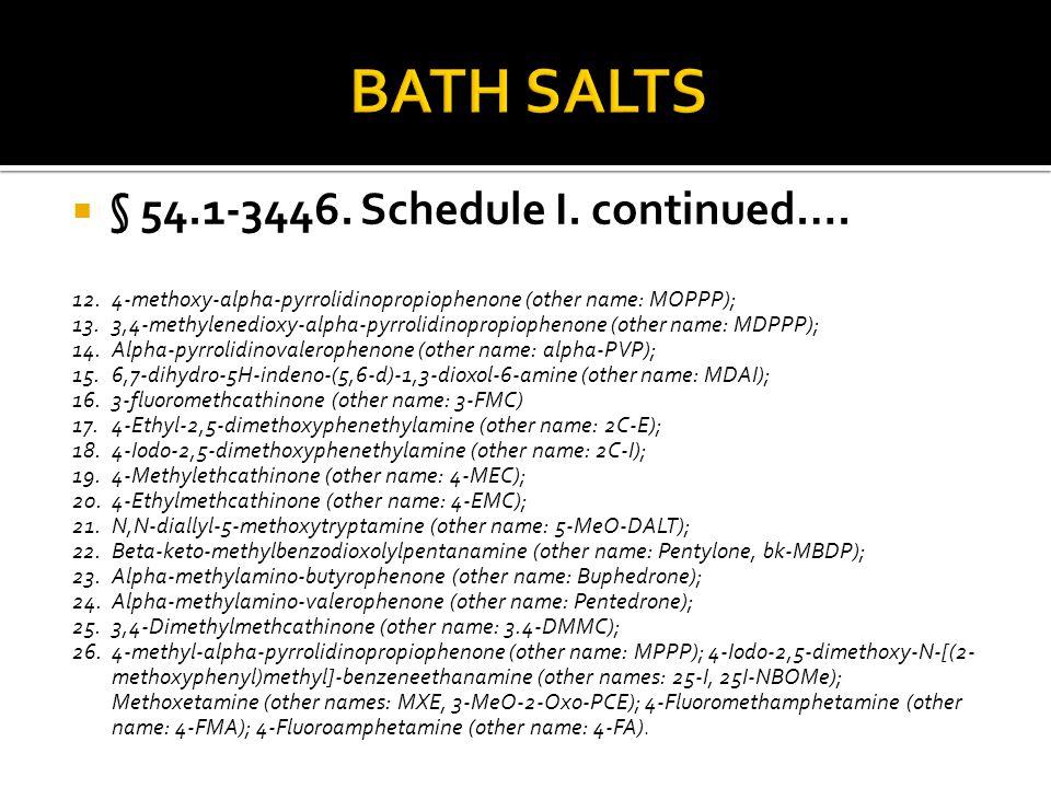  § 54.1-3446. Schedule I. continued…. 12.4-methoxy-alpha-pyrrolidinopropiophenone (other name: MOPPP); 13.3,4-methylenedioxy-alpha-pyrrolidinopropiop