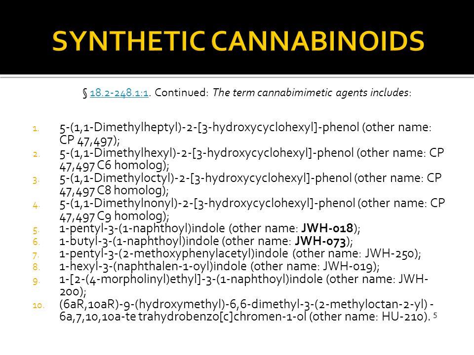 1. 5-(1,1-Dimethylheptyl)-2-[3-hydroxycyclohexyl]-phenol (other name: CP 47,497); 2. 5-(1,1-Dimethylhexyl)-2-[3-hydroxycyclohexyl]-phenol (other name: