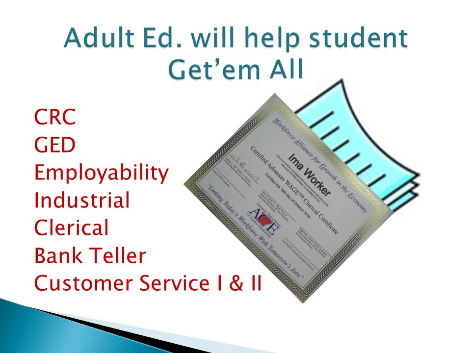 CRC GED Employability Industrial Clerical Bank Teller Customer Service I & II