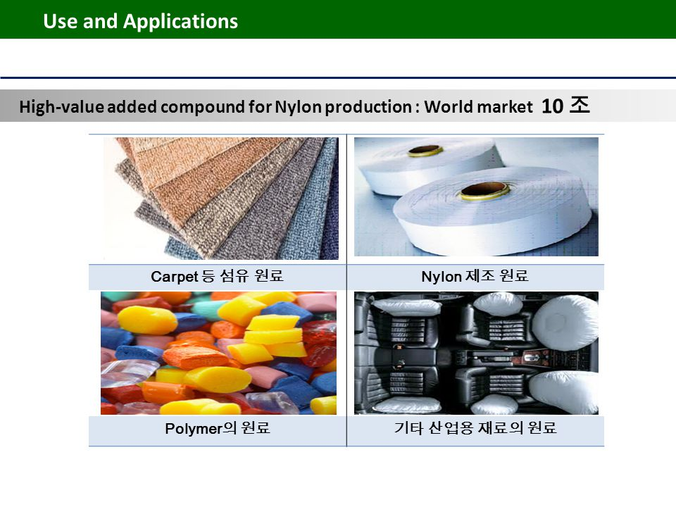 Carpet 등 섬유 원료 Nylon 제조 원료 Polymer 의 원료기타 산업용 재료의 원료 Use and Applications High-value added compound for Nylon production : World market 10 조