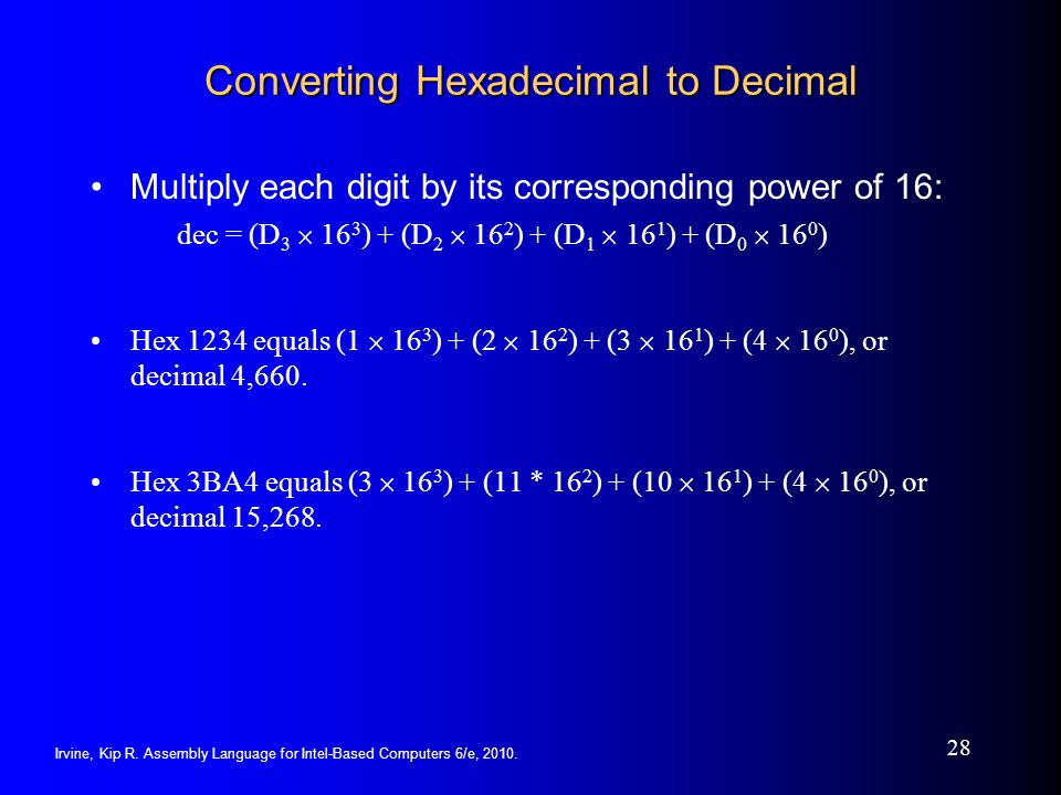Irvine, Kip R. Assembly Language for Intel-Based Computers 6/e, 2010. 28 Converting Hexadecimal to Decimal Multiply each digit by its corresponding po