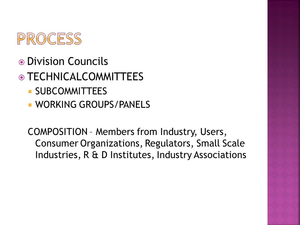  Division Councils  TECHNICALCOMMITTEES  SUBCOMMITTEES  WORKING GROUPS/PANELS COMPOSITION – Members from Industry, Users, Consumer Organizations, Regulators, Small Scale Industries, R & D Institutes, Industry Associations