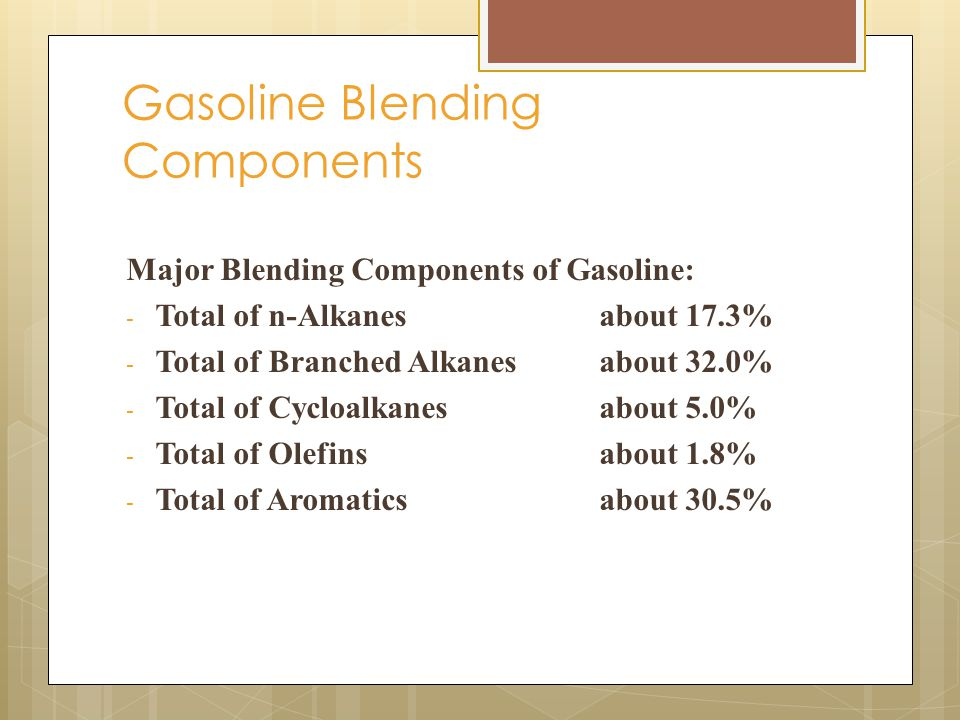 Major Blending Components of Gasoline: - Total of n-Alkanesabout 17.3% - Total of Branched Alkanesabout 32.0% - Total of Cycloalkanesabout 5.0% - Total of Olefinsabout 1.8% - Total of Aromaticsabout 30.5% Gasoline Blending Components