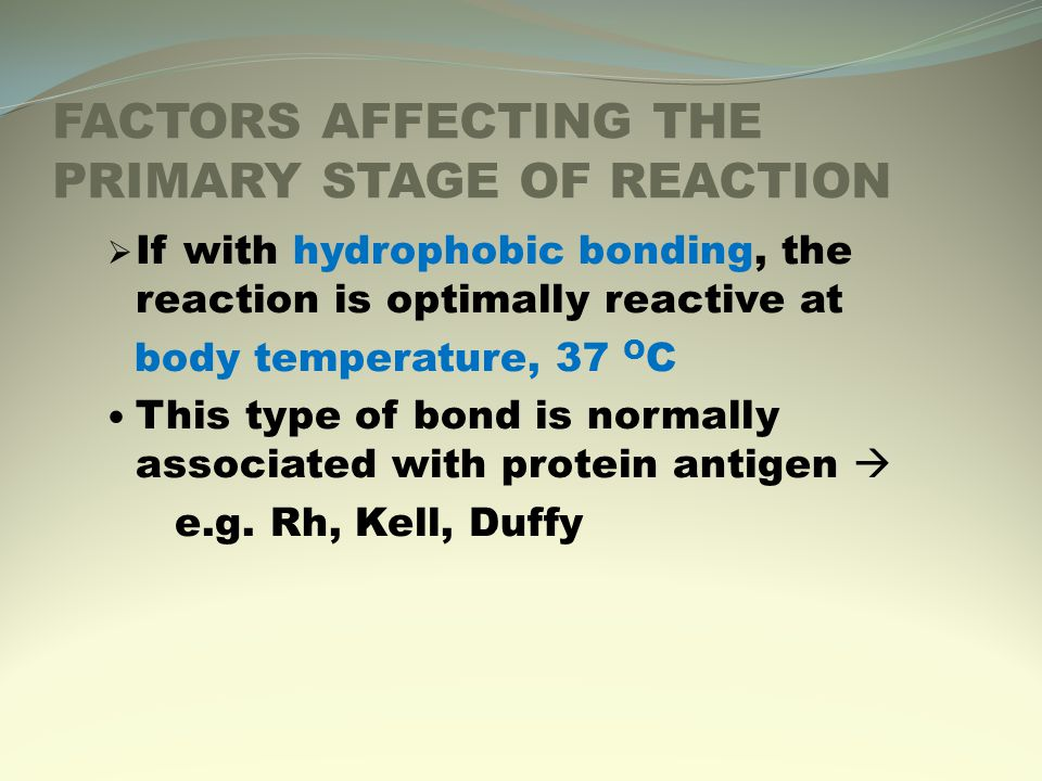 FACTORS AFFECTING THE PRIMARY STAGE OF REACTION  If with hydrophobic bonding, the reaction is optimally reactive at body temperature, 37 O C This type of bond is normally associated with protein antigen  e.g.