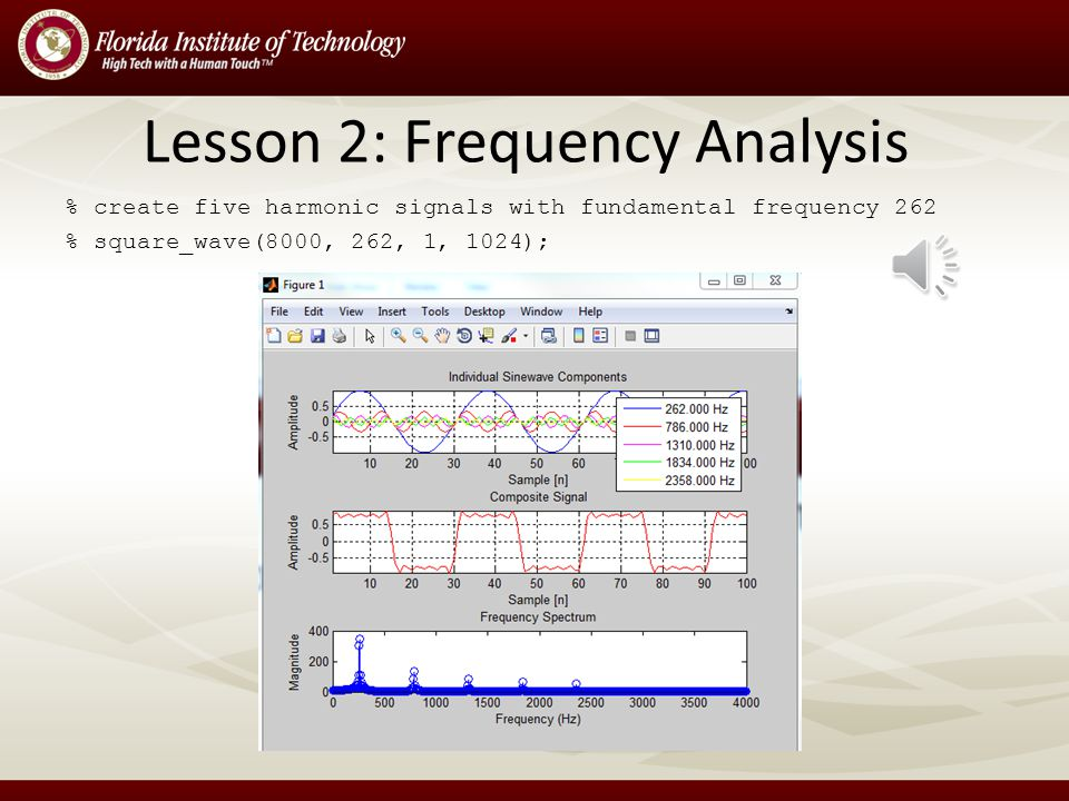 Lesson 2: Frequency Analysis Student MATLAB Project – Create a composite signal with the sum of harmonic sine waves – Plot graphs and play sounds of t