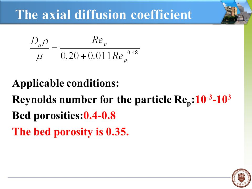 The axial diffusion coefficient Applicable conditions: Reynolds number for the particle Re p :10 -3 -10 3 Bed porosities:0.4-0.8 The bed porosity is 0.35.