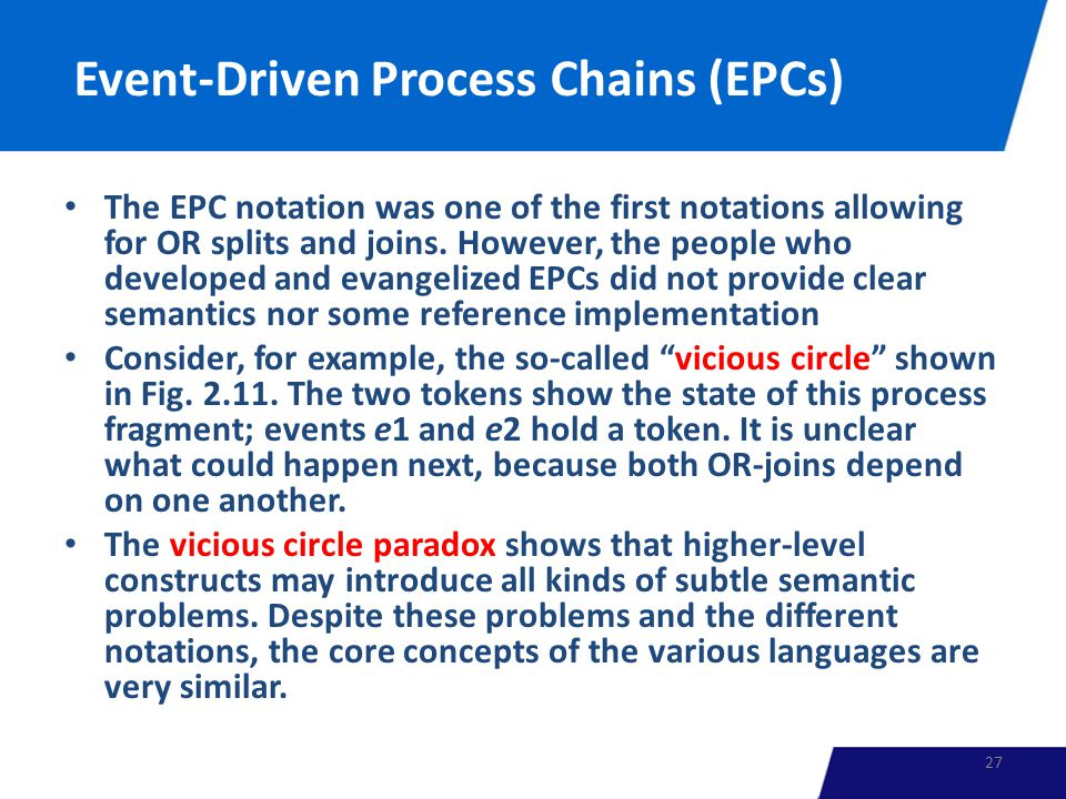 Event-Driven Process Chains (EPCs) The EPC notation was one of the first notations allowing for OR splits and joins.