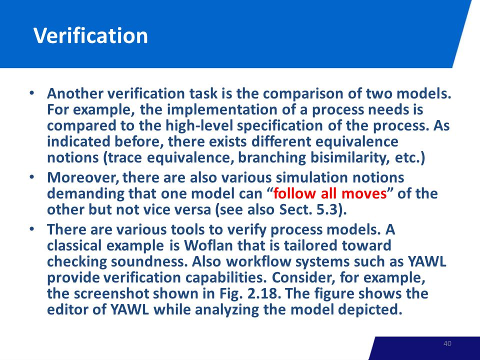 Verification Another verification task is the comparison of two models.