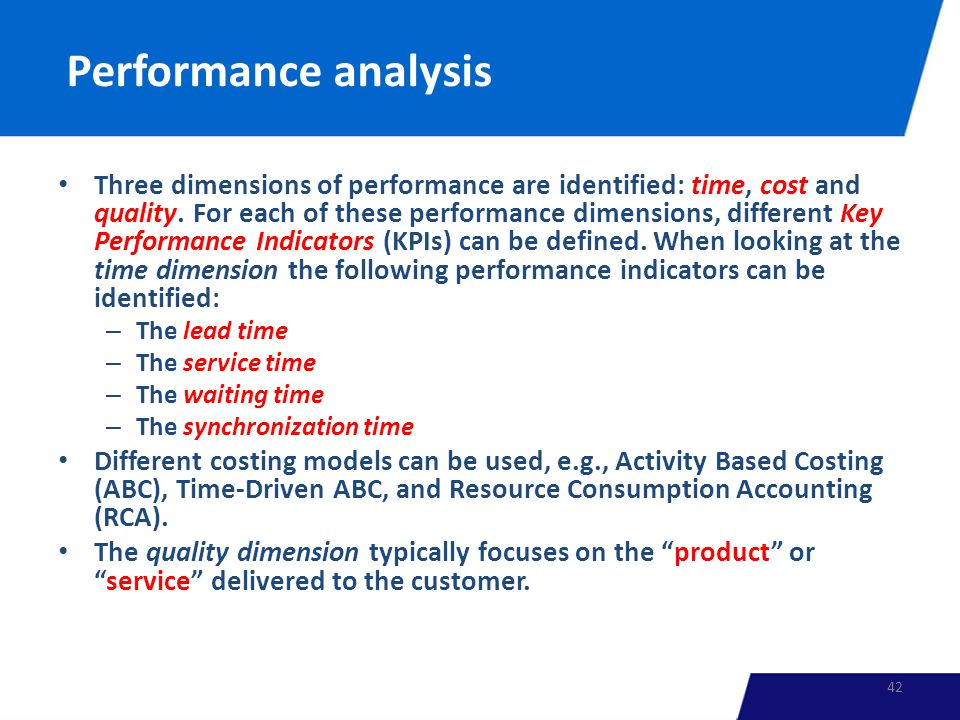 Performance analysis Three dimensions of performance are identified: time, cost and quality.