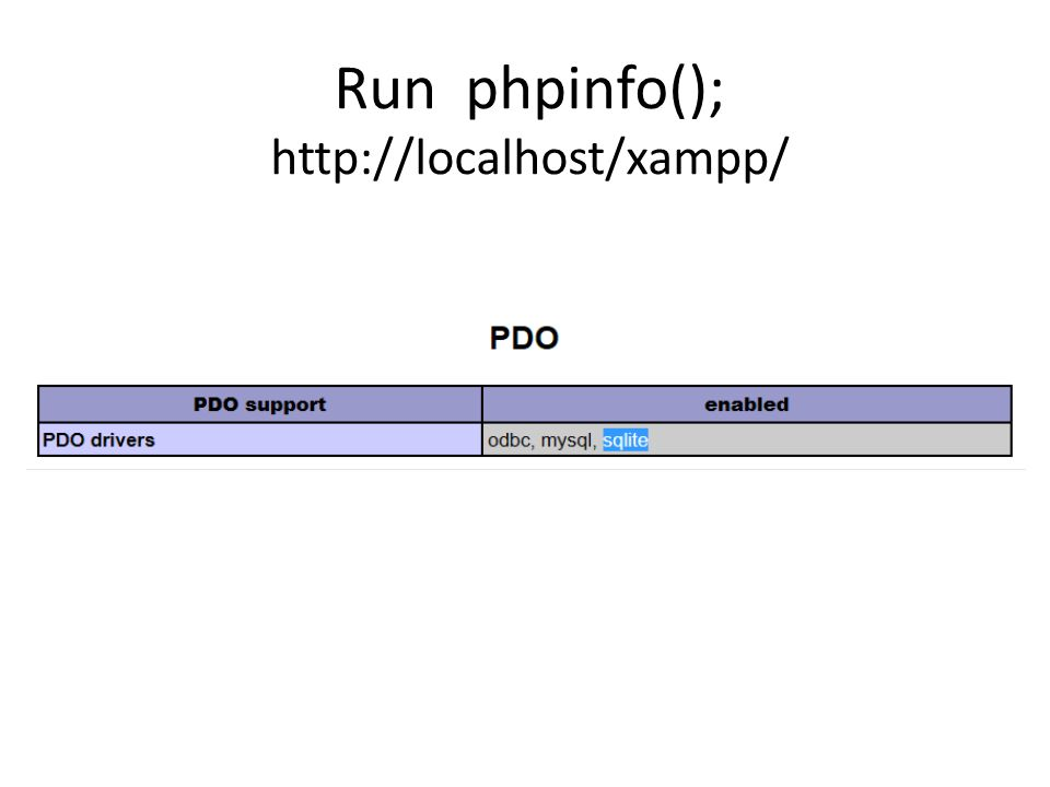 Run phpinfo(); http://localhost/xampp/