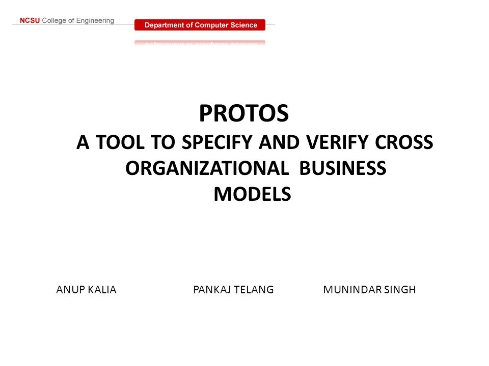PROTOS A TOOL TO SPECIFY AND VERIFY CROSS ORGANIZATIONAL BUSINESS MODELS ANUP KALIA PANKAJ TELANG MUNINDAR SINGH