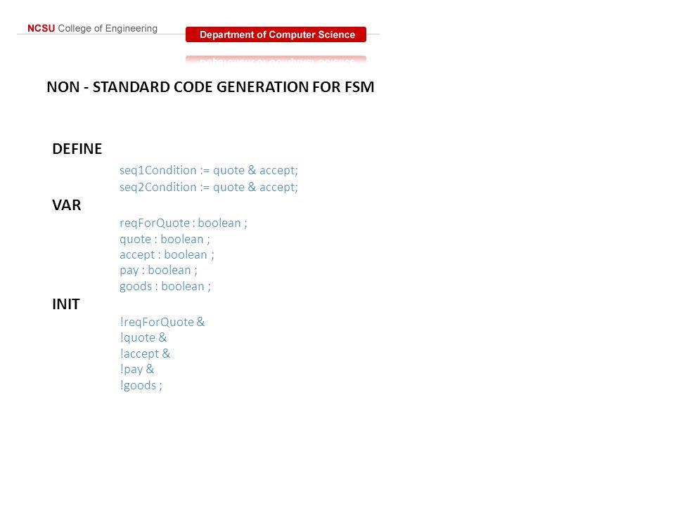 NON - STANDARD CODE GENERATION FOR FSM DEFINE seq1Condition := quote & accept; seq2Condition := quote & accept; VAR reqForQuote : boolean ; quote : bo
